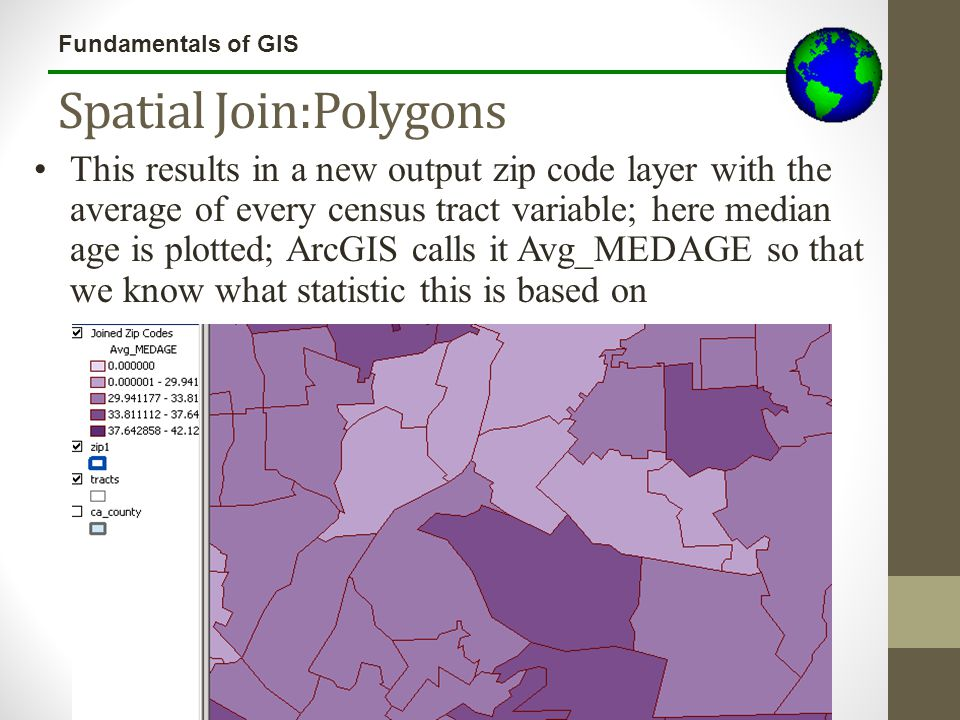 Fundamentals of GIS Spatial Join:Polygons This results in a new output zip code layer with the average of every census tract variable; here median age