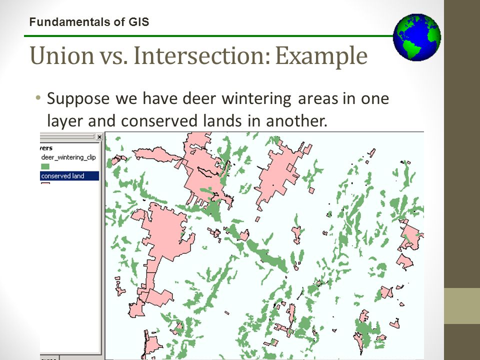 Fundamentals of GIS Union vs. Intersection: Example Suppose we have deer wintering areas in one layer and conserved lands in another.