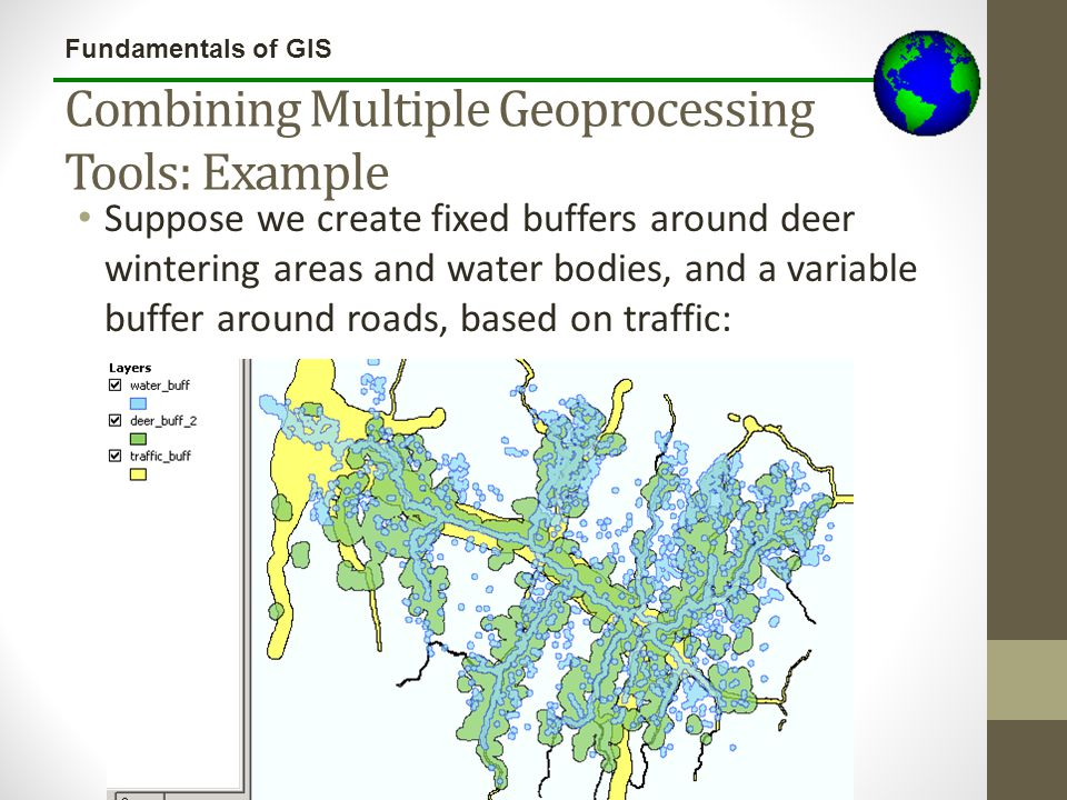 Fundamentals of GIS Combining Multiple Geoprocessing Tools: Example Suppose we create fixed buffers around deer wintering areas and water bodies, and