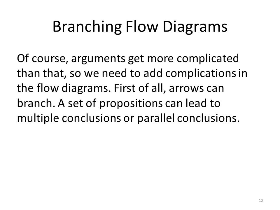 Branching Flow Diagrams Of course, arguments get more complicated than that, so we need to add complications in the flow diagrams.
