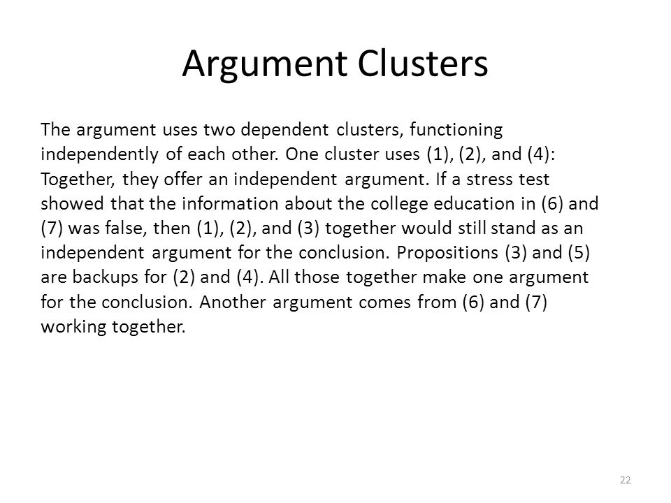 Argument Clusters The argument uses two dependent clusters, functioning independently of each other. One cluster uses (1), (2), and (4): Together, the