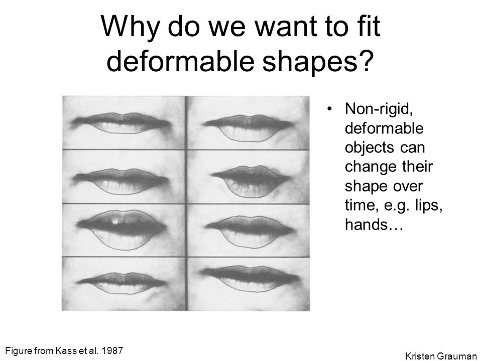 Why do we want to fit deformable shapes? Non-rigid, deformable objects can change their shape over time, e.g. lips, hands… Figure from Kass et al. 198