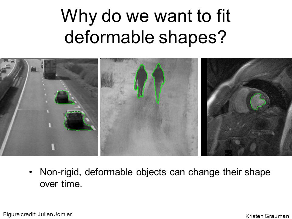 Figure credit: Julien Jomier Why do we want to fit deformable shapes? Non-rigid, deformable objects can change their shape over time. Kristen Grauman
