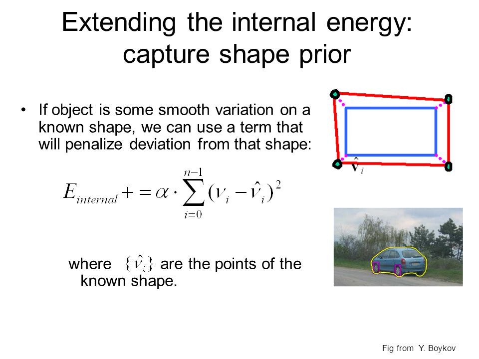 Extending the internal energy: capture shape prior If object is some smooth variation on a known shape, we can use a term that will penalize deviation