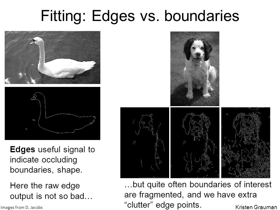 Fitting: Edges vs. boundaries Edges useful signal to indicate occluding boundaries, shape. Here the raw edge output is not so bad… …but quite often bo
