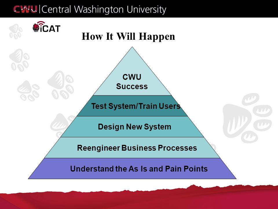 How It Will Happen Understand the As Is and Pain PointsReengineer Business Processes Design New System Test System/Train Users CWU Success