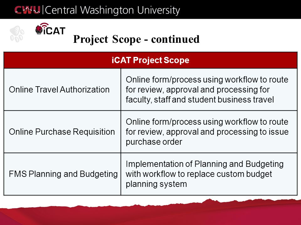 Project Scope - continued iCAT Project Scope Online Travel Authorization Online form/process using workflow to route for review, approval and processing for faculty, staff and student business travel Online Purchase Requisition Online form/process using workflow to route for review, approval and processing to issue purchase order FMS Planning and Budgeting Implementation of Planning and Budgeting with workflow to replace custom budget planning system