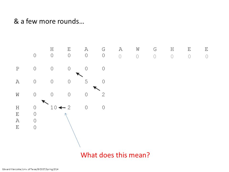 & a few more rounds… What does this mean Edward Marcotte/Univ. of Texas/BIO337/Spring 2014