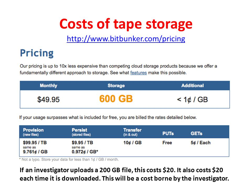 Costs of tape storage http://www.bitbunker.com/pricing If an investigator uploads a 200 GB file, this costs $20. It also costs $20 each time it is dow