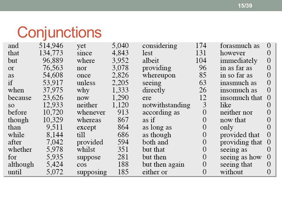 15/39 Conjunctions