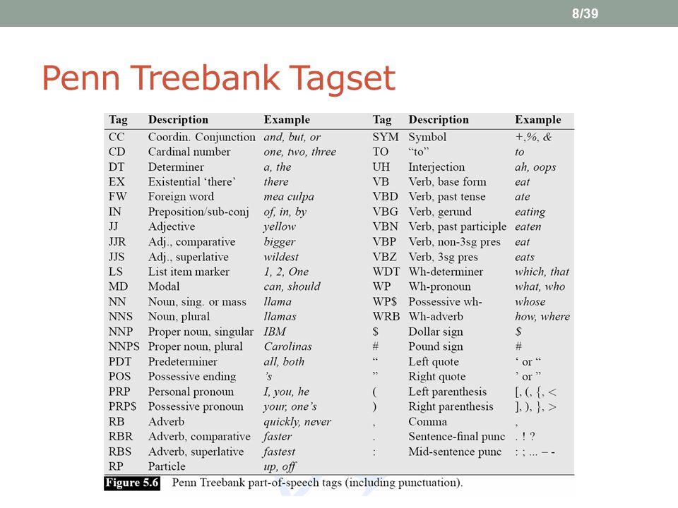 8/39 Penn Treebank Tagset