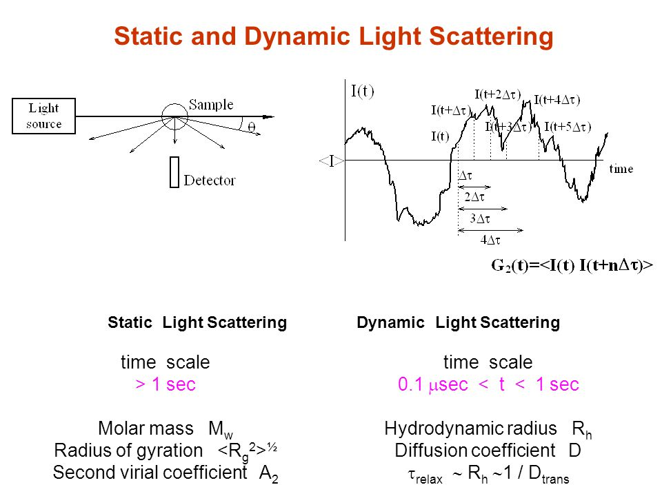 time scale > 1 sec Molar mass M w Radius of gyration ½ Second virial coefficient A 2 Static Light Scattering Dynamic Light Scattering time scale 0.1  sec < t < 1 sec Hydrodynamic radius R h Diffusion coefficient D  relax  R h  1 / D trans Static and Dynamic Light Scattering