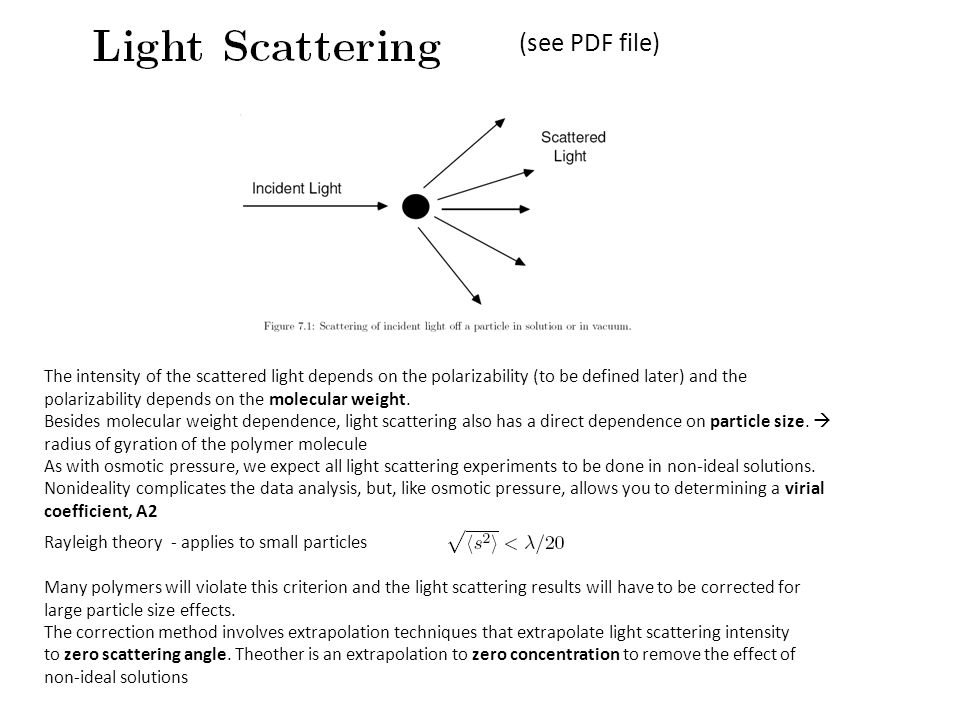 The intensity of the scattered light depends on the polarizability (to be defined later) and the polarizability depends on the molecular weight.