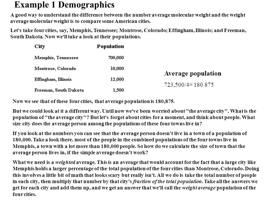 A good way to understand the difference between the number average molecular weight and the weight average molecular weight is to compare some American cities.