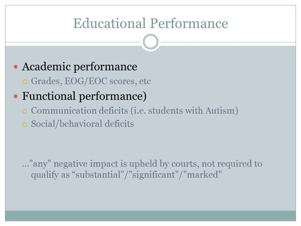 Educational Performance Academic performance  Grades, EOG/EOC scores, etc Functional performance)  Communication deficits (i.e.