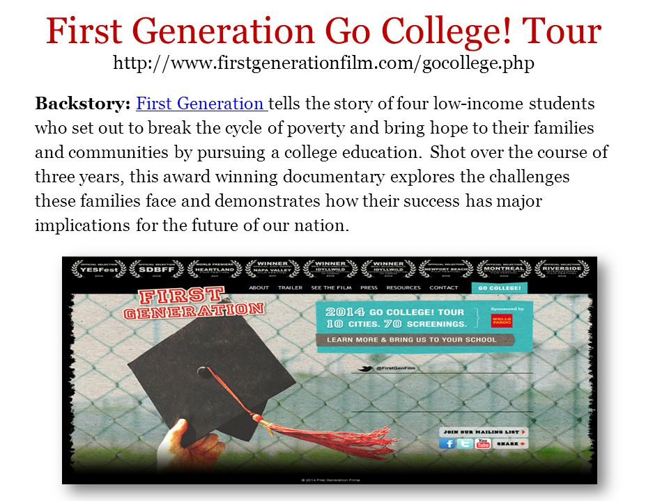 First Generation Go College.