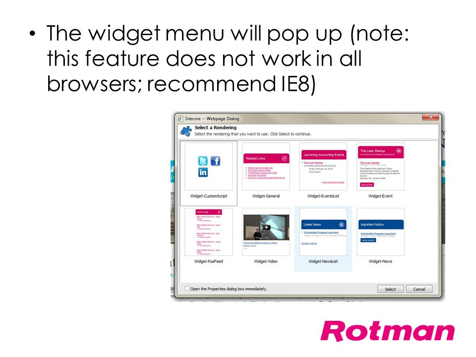 The widget menu will pop up (note: this feature does not work in all browsers; recommend IE8)