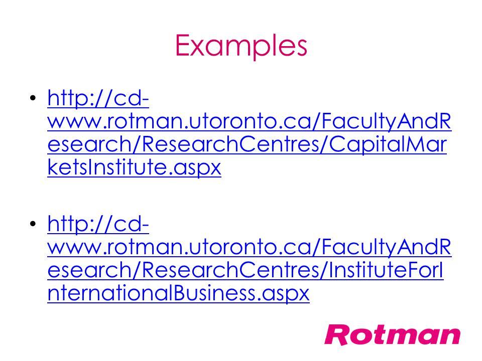 Examples http://cd- www.rotman.utoronto.ca/FacultyAndR esearch/ResearchCentres/CapitalMar ketsInstitute.aspx http://cd- www.rotman.utoronto.ca/Faculty