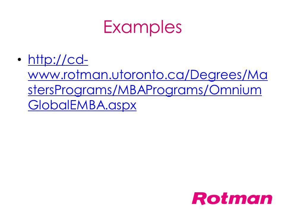 Examples http://cd- www.rotman.utoronto.ca/Degrees/Ma stersPrograms/MBAPrograms/Omnium GlobalEMBA.aspx http://cd- www.rotman.utoronto.ca/Degrees/Ma st