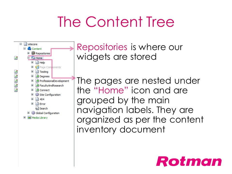"""The Content Tree Repositories is where our widgets are stored The pages are nested under the """"Home"""" icon and are grouped by the main navigation labels"""
