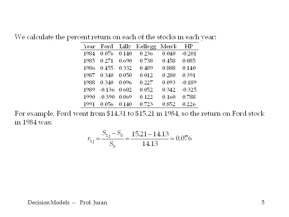 Decision Models -- Prof. Juran66