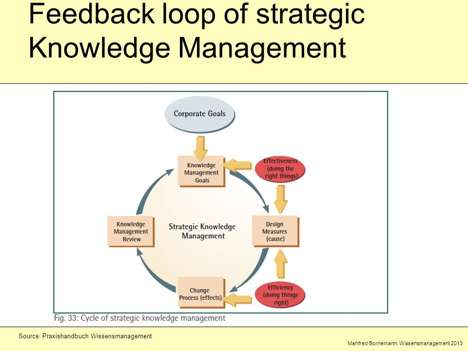 Manfred Bornemann: Wissensmanagement 2013 Source: Praxishandbuch Wissensmanagement Feedback loop of strategic Knowledge Management