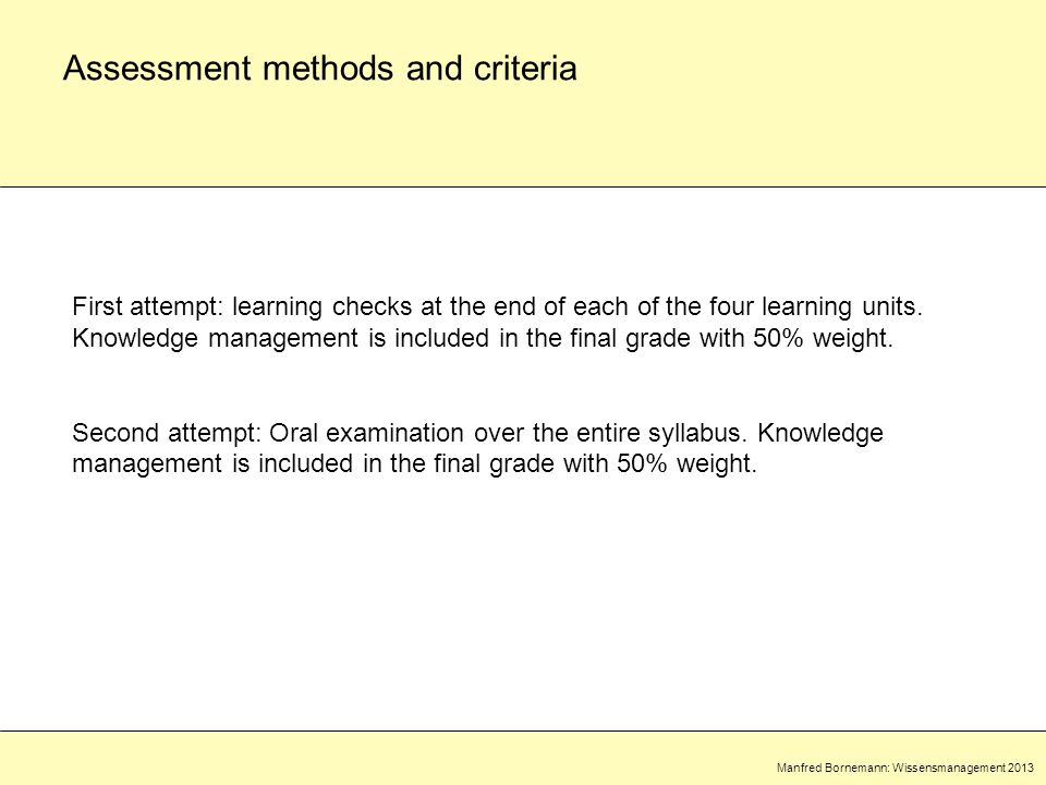 Manfred Bornemann: Wissensmanagement 2013 Assessment methods and criteria First attempt: learning checks at the end of each of the four learning units.