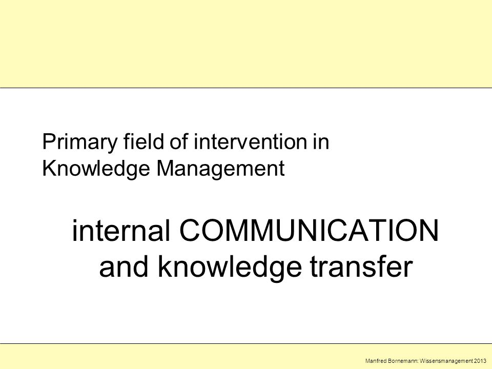 Manfred Bornemann: Wissensmanagement 2013 Primary field of intervention in Knowledge Management internal COMMUNICATION and knowledge transfer