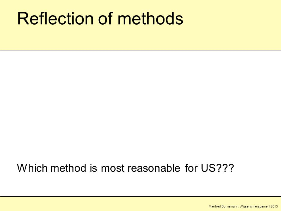 Manfred Bornemann: Wissensmanagement 2013 Reflection of methods Which method is most reasonable for US