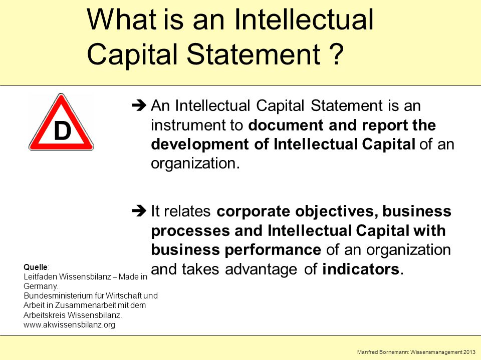 Manfred Bornemann: Wissensmanagement 2013 What is an Intellectual Capital Statement .