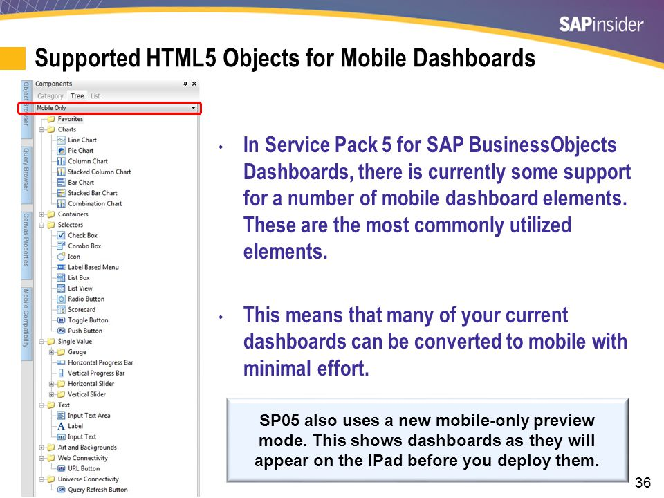 36 Supported HTML5 Objects for Mobile Dashboards SP05 also uses a new mobile-only preview mode. This shows dashboards as they will appear on the iPad