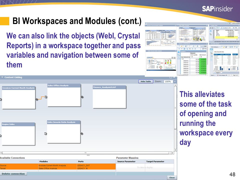 48 BI Workspaces and Modules (cont.) We can also link the objects (WebI, Crystal Reports) in a workspace together and pass variables and navigation be