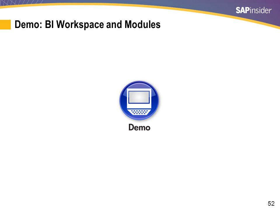 52 Demo: BI Workspace and Modules