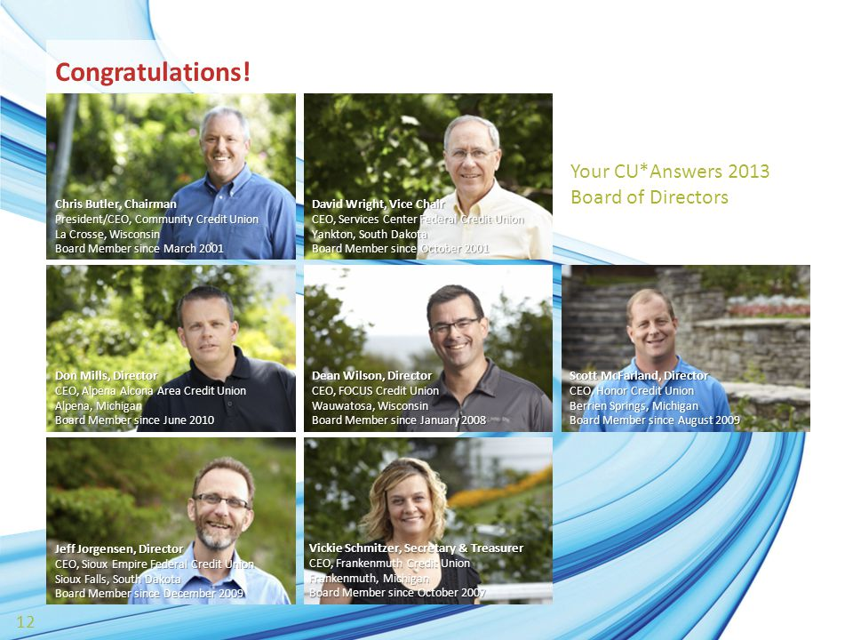 12 Congratulations! Chris Butler, Chairman President/CEO, Community Credit Union La Crosse, Wisconsin Board Member since March 2001 David Wright, Vice