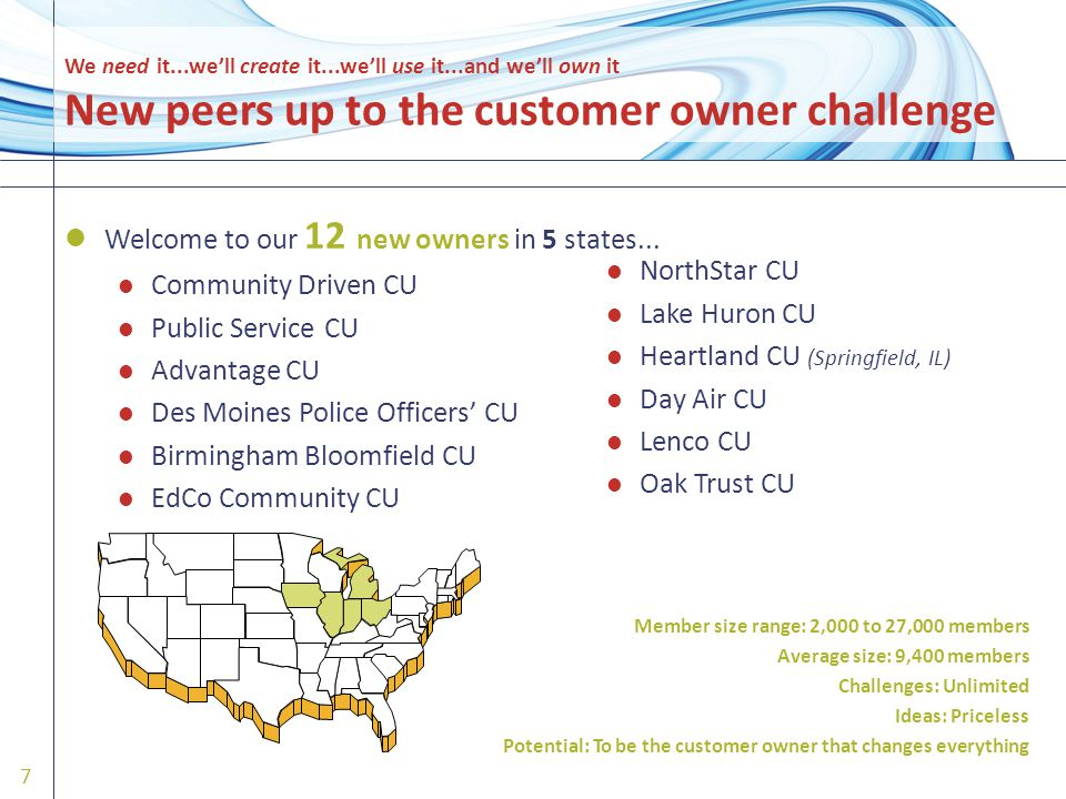 We need it...we'll create it...we'll use it...and we'll own it New peers up to the customer owner challenge Welcome to our 12 new owners in 5 states...