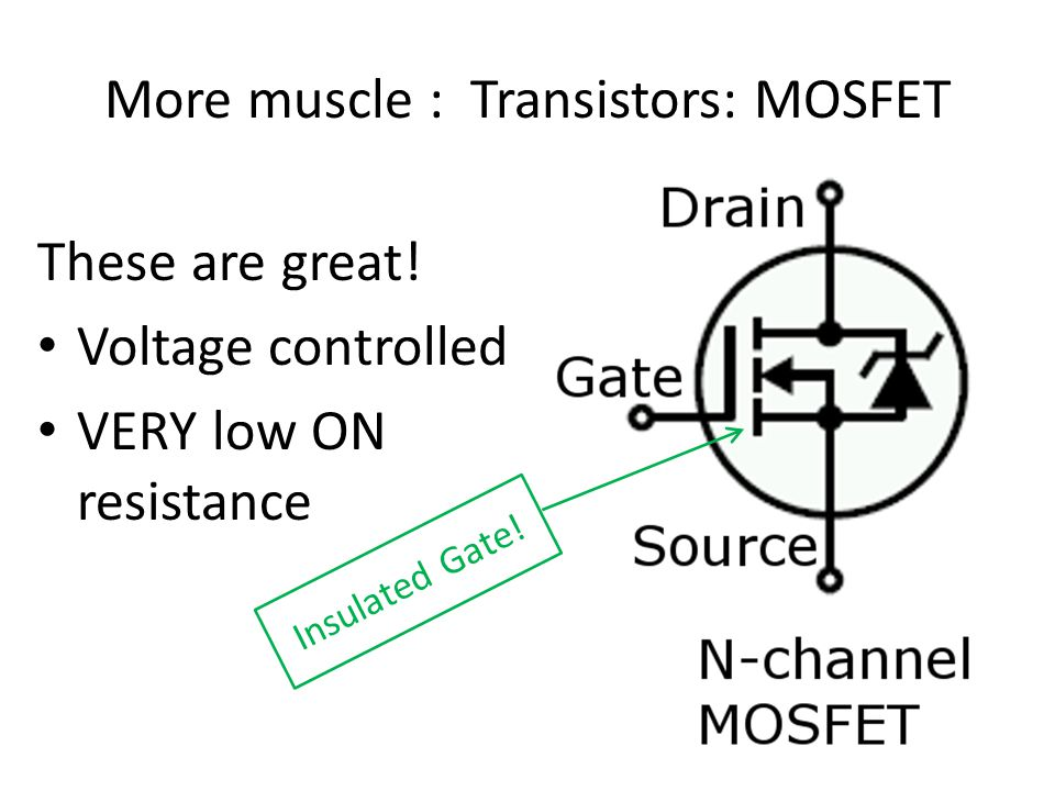 More muscle : Transistors: MOSFET These are great.
