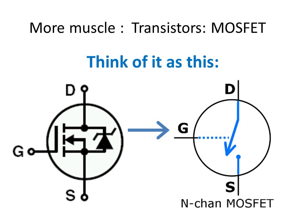 More muscle : Transistors: MOSFET Think of it as this: