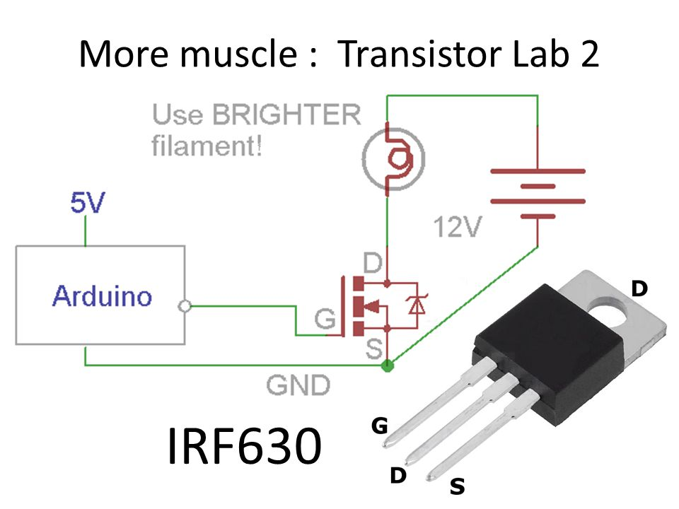 More muscle : Transistor Lab 2 IRF630