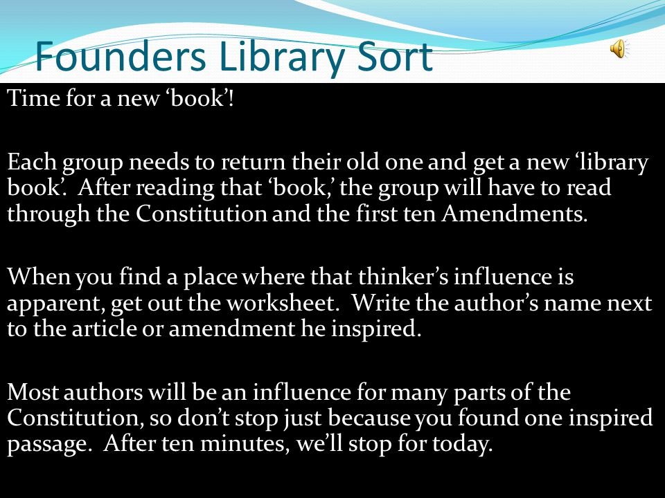 Founders Library Sort Time for a new 'book'.