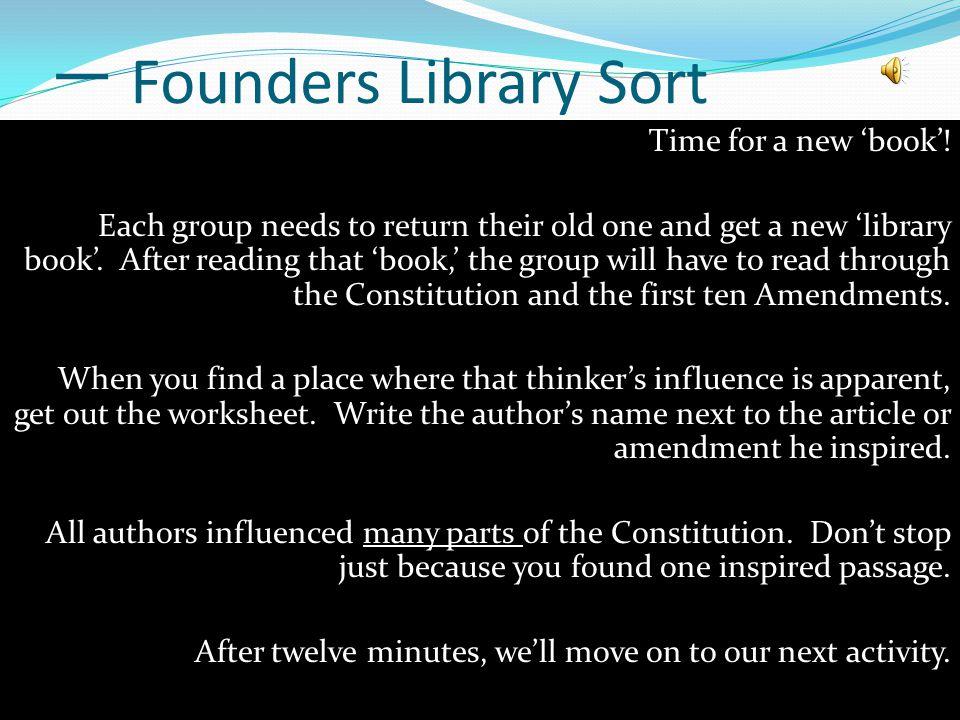 一 Founders Library Sort Time for a new 'book'.