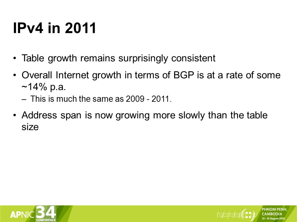 IPv4 in 2011 Table growth remains surprisingly consistent Overall Internet growth in terms of BGP is at a rate of some ~14% p.a.