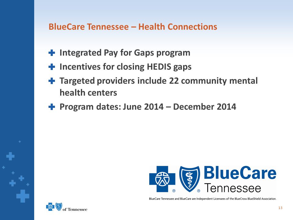 BlueCare Tennessee – Health Connections Integrated Pay for Gaps program Incentives for closing HEDIS gaps Targeted providers include 22 community ment