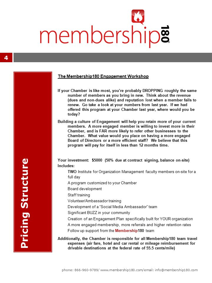4 Pricing Structure The Membership180 Engagement Workshop If your Chamber is like most, you're probably DROPPING roughly the same number of members as you bring in new.