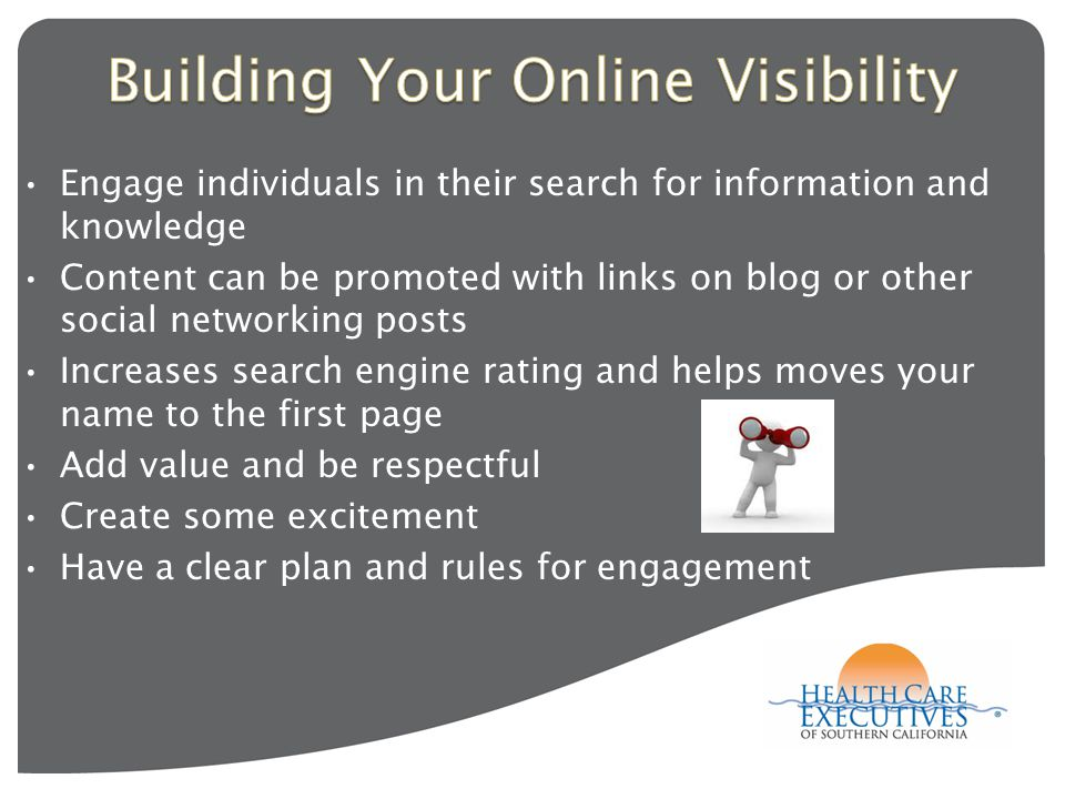 Engage individuals in their search for information and knowledge Content can be promoted with links on blog or other social networking posts Increases search engine rating and helps moves your name to the first page Add value and be respectful Create some excitement Have a clear plan and rules for engagement