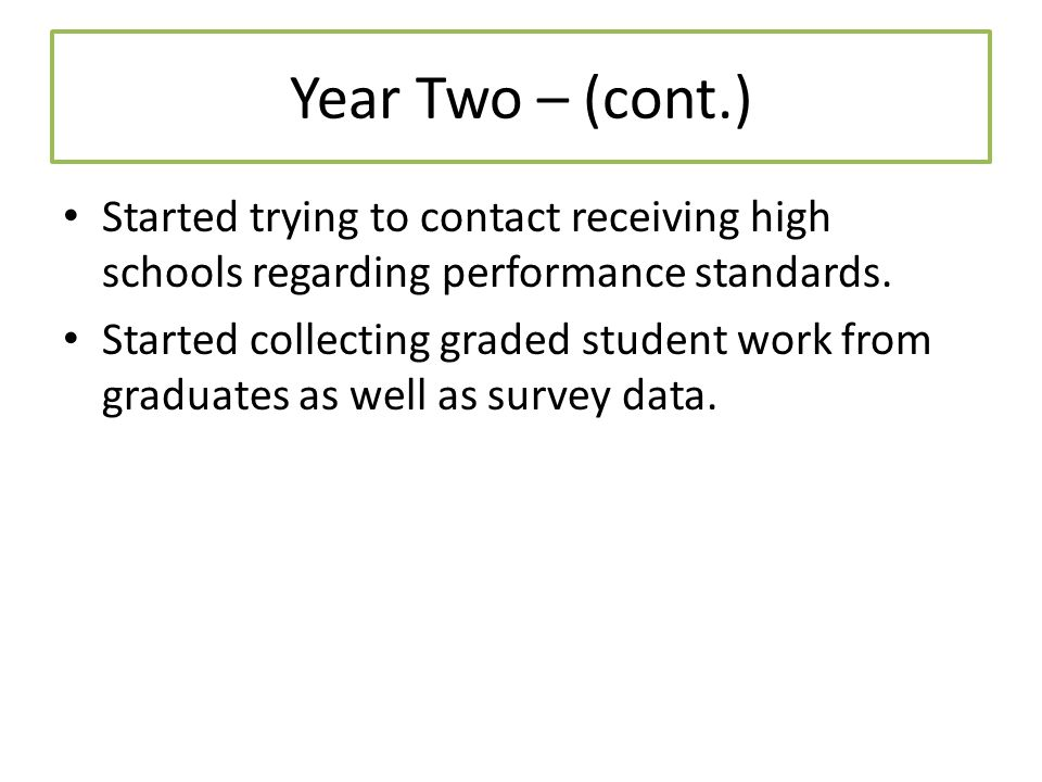 Year Two – (cont.) Started trying to contact receiving high schools regarding performance standards.