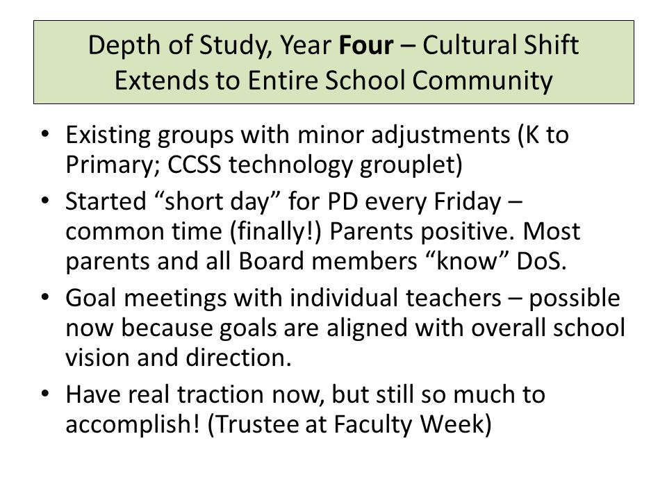 Depth of Study, Year Four – Cultural Shift Extends to Entire School Community Existing groups with minor adjustments (K to Primary; CCSS technology grouplet) Started short day for PD every Friday – common time (finally!) Parents positive.