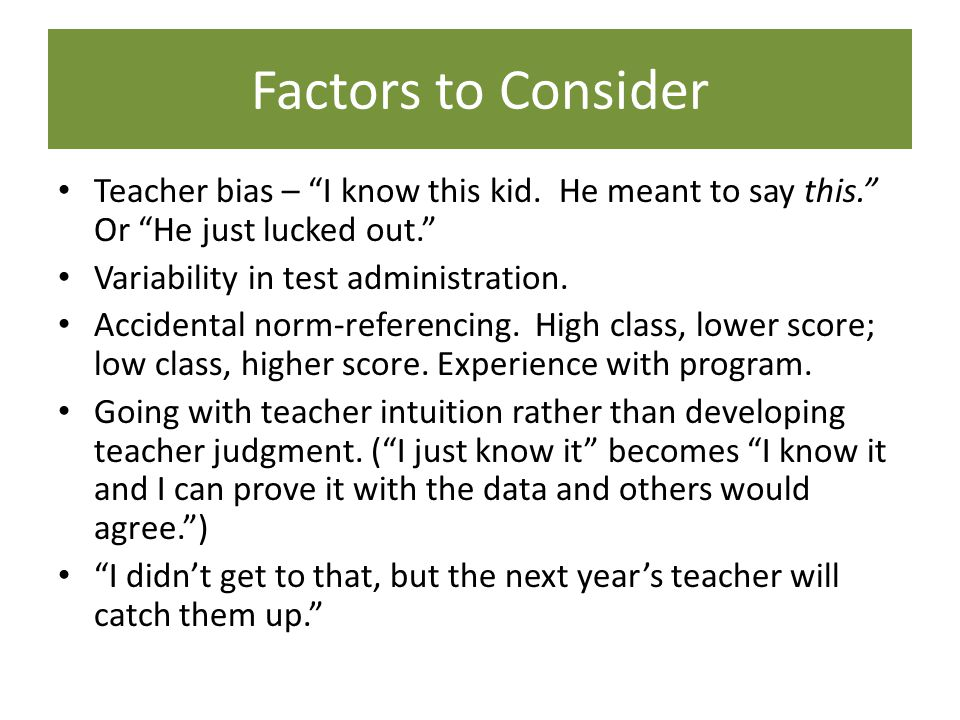 Factors to Consider Teacher bias – I know this kid.