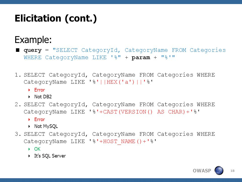 OWASP Elicitation (cont.) Example:  query =