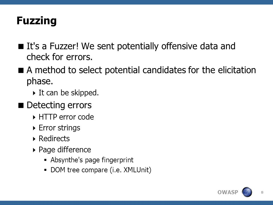 OWASP Fuzzing  It s a Fuzzer. We sent potentially offensive data and check for errors.