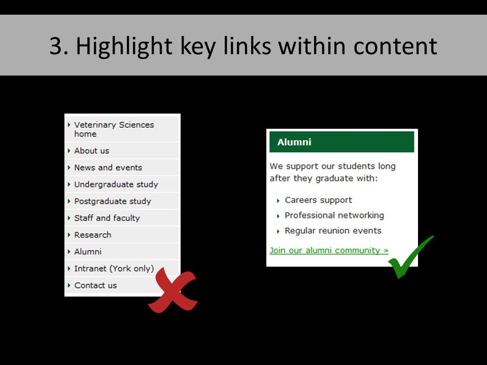 3. Highlight key links within content